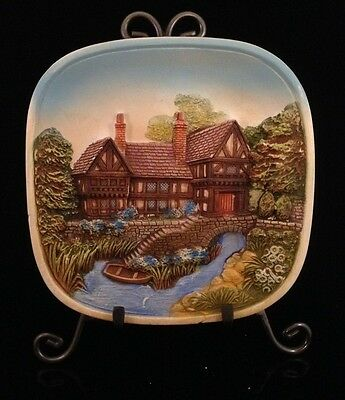 """Legend Products England 3D Chalkware 8"""" Wall Plate Manor Stream Boat Bridge Step"""