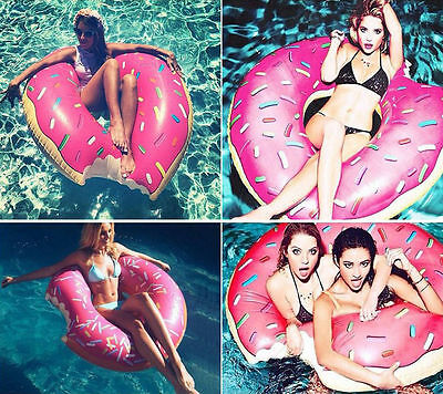 Inflatable Giant Fun Bite Shape Donut Swimming Pool Water Float Raft Swim Ring