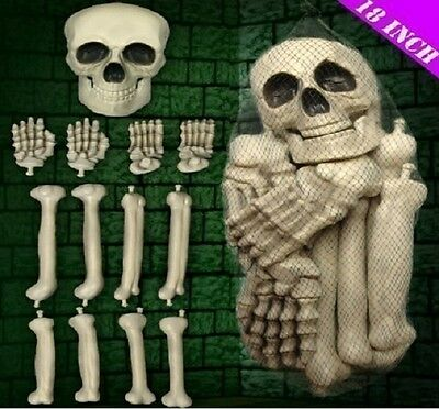 Large Bag Of Skeleton Bones In Bag With Skull Novelty Prop Halloween Decoration