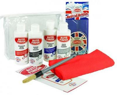Auto Finish Mini Valeting Kit - Wash Wax Polish Cleaning, Car Care Gifts Men Dad