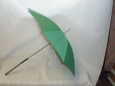 *vintage Green Umbrella With  Detailed Continental Silver Handle 94Cm *