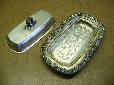 Vintage Unmarked Silverplate Butter Dish w/Glass Insert Art Deco Great Designs!