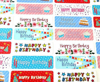 Colourful Happy Birthday Greeting Stickers, Labels for Cards & Gifts HBW-4715-3
