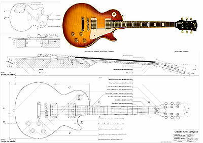 gibson 39 59 les paul plans full scale for electric guitar building picclick. Black Bedroom Furniture Sets. Home Design Ideas