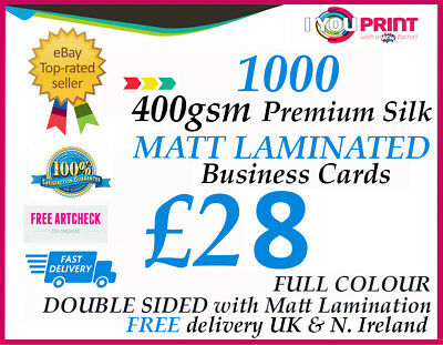500 business cards 400gsm premium silk artboard single sided 1000 matt laminated business cards 400gsm premium silk artboard double sided reheart Gallery