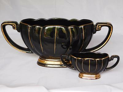 Two Vintage Black And Gold Center Pieces ~ Planters Vases
