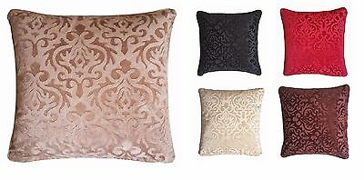 2 x Embossed Soft Velvet Damask Cushion Cover Piped Edging 44x44cm 6 Colours