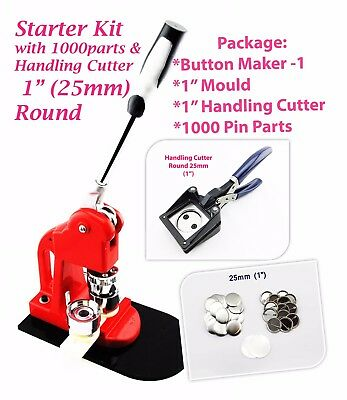 """25MM(1"""" Kit) Button maker-1 + 25mm Mould + 1000 pin parts + 25mm Handling"""