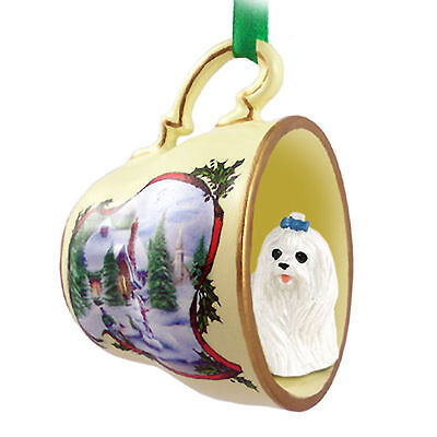 Maltese Dog Christmas Holiday Teacup Ornament Figurine