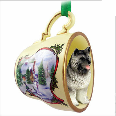 Keeshond Dog Christmas Holiday Teacup Ornament Figurine