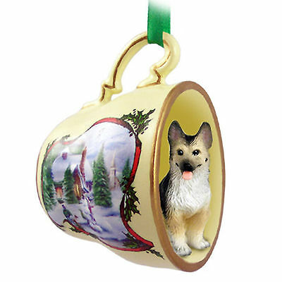 German Shepherd Christmas Teacup Ornament Tan/Blk