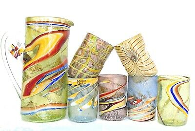 Caraffa / Bicchiere Vetro Murano /murrine Strips Glasses & Jug Murano Glass