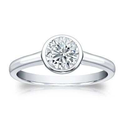2.25 Ct Round Cut Solitaire Bezel Engagement Wedding Ring Solid 14K White Gold