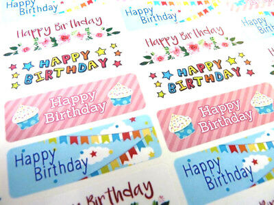 Colourful Happy Birthday Greeting Stickers, Labels for Cards & Gifts HBW-4715-4