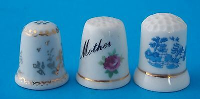 Set Of Three Floral Decor Thimbles; Two Porcelain And One Ashley Fine Bone China