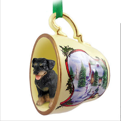 Rottweiler Dog Christmas Holiday Teacup Ornament Figurine
