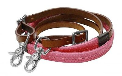Showman 7' MEDIUM OIL Leather Barrel Reins w/ PINK Rubber Grip! NEW HORSE TACK!!