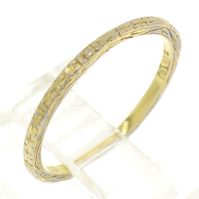 Antique Art Deco Etched 18k Yellow Gold 1.20mm Eternity Wedding Band Ring Sz 5.0