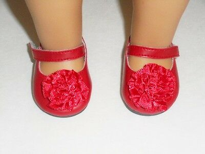"""Doll Clothes 18"""" Shoes Red Mary Jane Flower Arianna Fits American Girl Doll"""