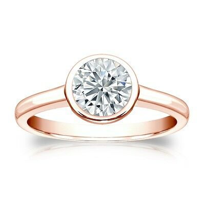 3 Ct Round Cut Solitaire Bezel Engagement Wedding Ring Solid 18K Rose Pink Gold