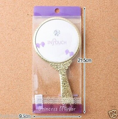 Vintage Style Round Vanity Hand Held Mirrors Purses Make up Mirror Gold
