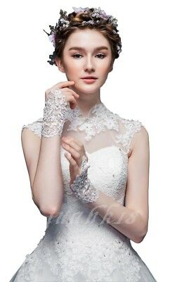 Bridal Gloves In Stock Lace Appliques Beads Fingerless Wrist Length With Ribbon