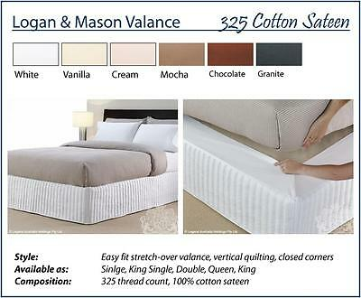 New Logan and Mason EASY FIT 100% Cotton 325TC VANILLA Quilted KING Size VALANCE