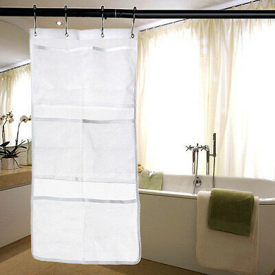 6 Pocket Bathroom BAG Shower Bath Hanging Mesh Organizer Caddy Storage Bag&Hooks