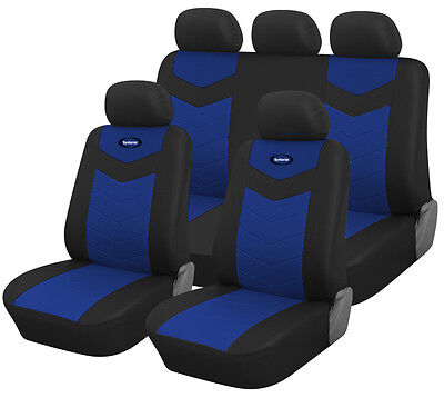 Synterior Brand, Synthetic Leather-Like Car Seat Covers Midnight Blue