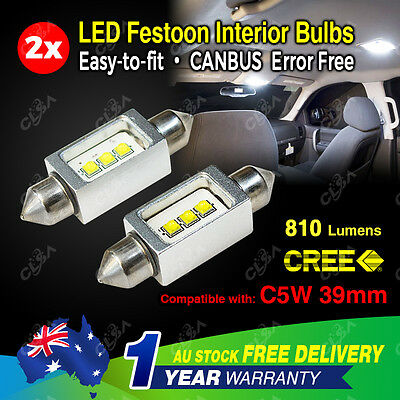 2X Festoon 39mm LED Car Interior Dome Map Light Bulb 12V-24V 9W CAN Bus CREE
