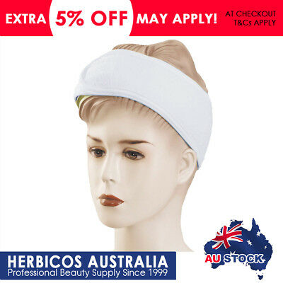 2 Pks Toweling Headband Head Band Salon Spa Facial - White