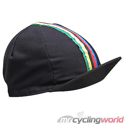 BLACK WORLD CHAMPION RETRO CYCLING CAP - Traditional Bike Hat WCS Stripes