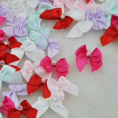 100pcs Mini Satin Ribbon Flowers W/Beads Bows Gift Craft Wedding Decoration F81