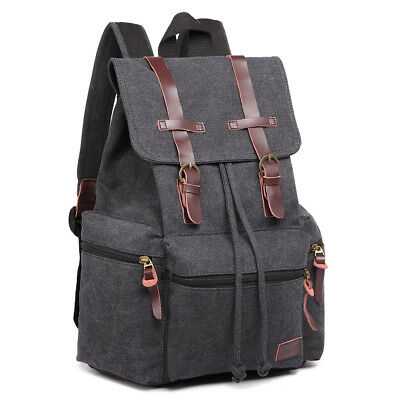 Men Tourist Camping Canvas Real Leather Trims School Bag Backpack Green