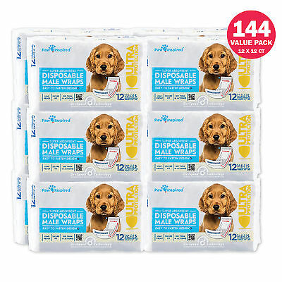 72/144ct Male Wraps Belly Bands Disposable - Dog Diapers Paw Inspired S M L Bulk
