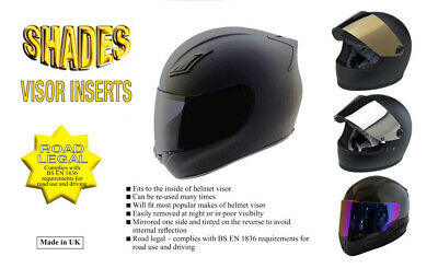 "Shades Tinted Helmet Visor Inserts - Dark / Silver / Gold / Purple ""Road Legal"""