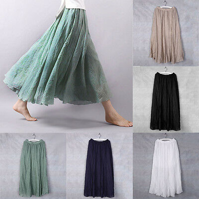 High Quality Ladies Cotton Pleated Hitched Hem Long Maxi Skirt Casual Style BM