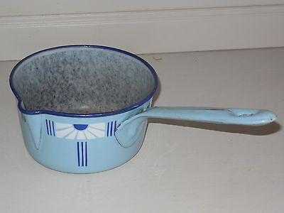 Antique French Enamelware PAN - 6.5 inches  - ART DECO style 1920 - VINTAGE