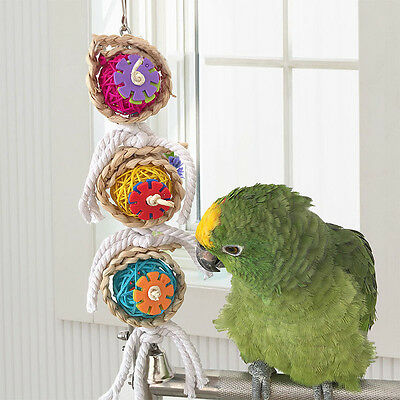 Bird Parrot Climb Chew Bites Toy Bell Swing Cage Hanging Rope Cockatiel Parakeet