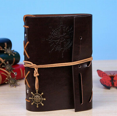 Dark Brown Nautical Retro Vintage PU Leather Notebook Kraft Diary Journal #AU