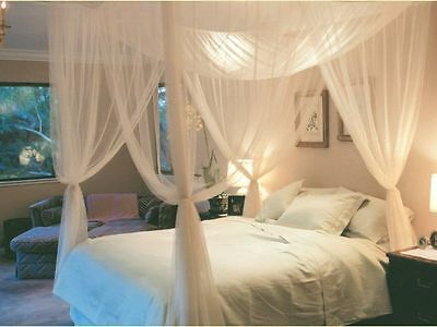 4 Corner Post Bed Canopy Mosquito Net Queen King Size Netting Bedding White DH