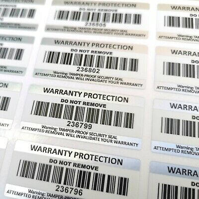 Tamper Proof Warranty Void Barcode Stickers ~ Security Seals Asset Labels etc