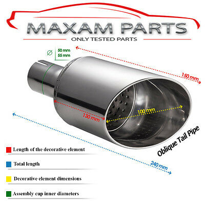 SINGLE TAIL PIPE N1-60, exhaust tip end, fi 100mm - 150mm socket pipe fi 50mm