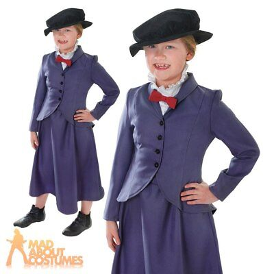 Child Victorian Nanny Mary Costume Girls Fancy Dress Book Week Day Outfit New