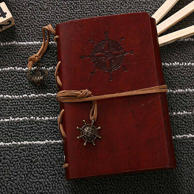 Red Brown Pirate Retro Vintage Pocket PU Leather Notebook Kraft Diary Journal #A