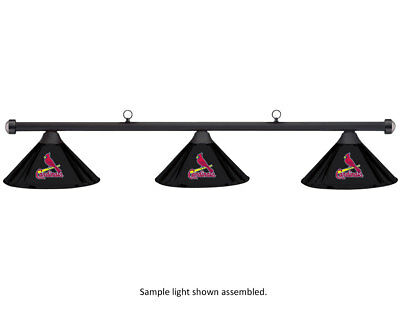MLB St. Louis Cardinals Black Metal Shade & Black Bar Billiard Pool Table Light
