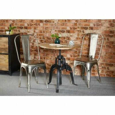 Jupiter Reclaimed Metal Furniture Industrial Café Silver Dining Chairs PAIR