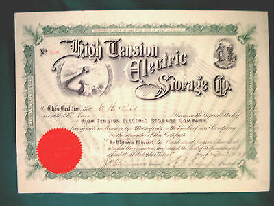 Stock Certificate - High Tension Electric Storage Co. - 1898