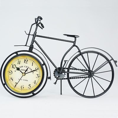 vintage shabby uhren standuhr tischuhr nostalgie fahrrad design dekouhr metall eur 14 99. Black Bedroom Furniture Sets. Home Design Ideas