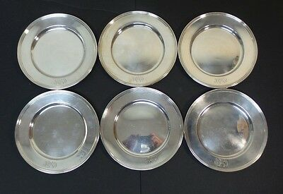 "Set/6 Whiting Mfg. Co. Sterling Silver 6"" Bread & Butter Plates, Monogram"